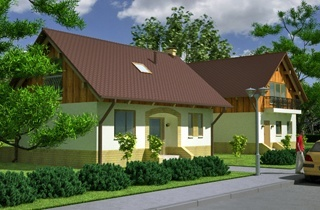 Engineering company LAND & HOME Construction standard one-story Vigo country house project with an attic