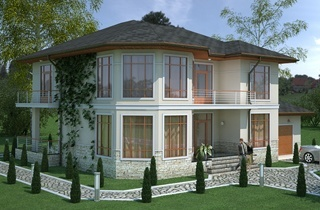 Ready-made project of a two-story classic home Juna engineering company LAND & HOME Construction