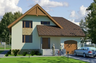 Standard one-story Bauska private house project with attic engineering bureau LAND & HOME Construction
