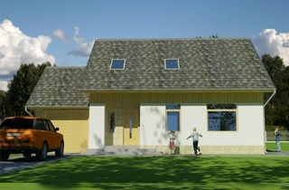Ready-made classic country Otto house project with attic architectural studio LAND & HOME Construction
