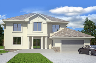 Patrick Standard Home Plan of a Classical Two-Story House with Attic Floor architectural project LAND & HOME Construction