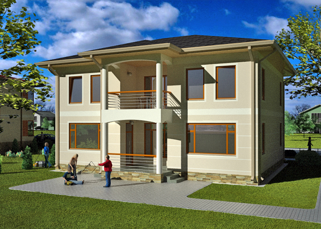 Standard project for a two-storey Orlean house with a terrace architectural project LAND & HOME Construction
