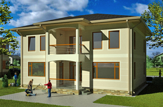 Ready-made modern project for a two-storey Orlean 2 house engineering studio LAND & HOME Construction