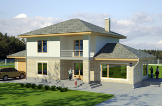 Ready-made classic two-storey Vito house project architectural bureau LAND & HOME Construction