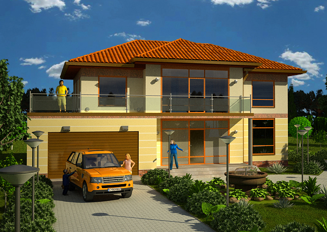 Architectural company LAND & HOME Construction ready-made modern two-storey Daniela house project with porch