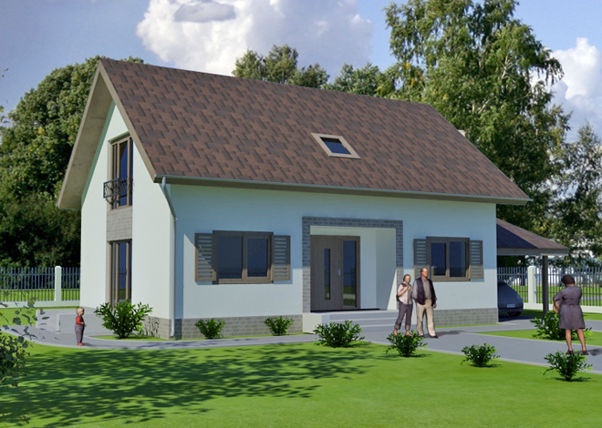 Ready-made classic country Ludza 2 private house project with attic architectural studio LAND & HOME Construction