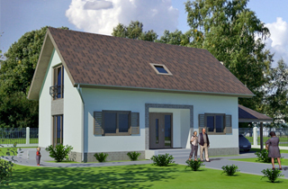 Standard one-storey Ludza 3 cottage project with attic architectural company LAND & HOME Construction