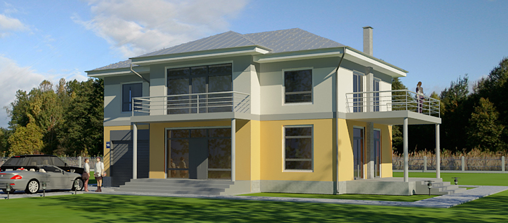 Architectural studio LAND & HOME Construction Weber Standard Two-Story Terraced Mansion Plan