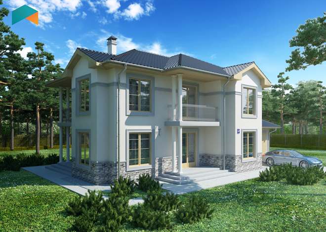 Oscar Standard Two-Story Mansion Plan engineering bureau LAND & HOME Construction
