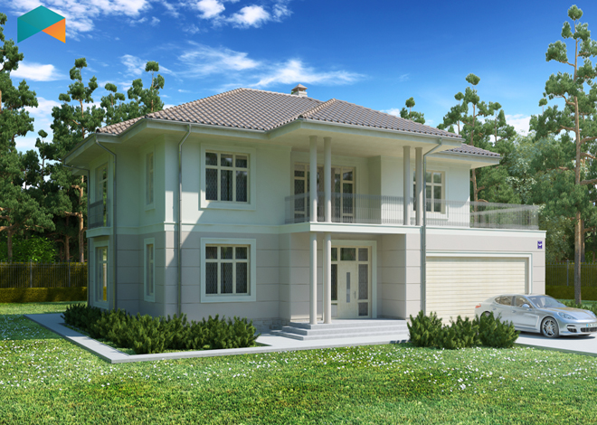 Engineering studio LAND & HOME Construction ready-made classic two-story Liana 2 cottage project with porch